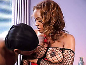 Curly sexy black chick in high heels Sinnamon Love gets her cooch fucked doggy