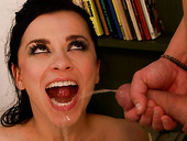 Spoiled brunette MILF gives steamy blowjob before getting her faced pissed