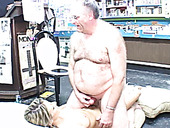 Fat old grandpa is pounding young slut Jane in the shop
