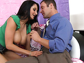 Busty brunette Ava Addams gives blowjob and gets muff diving