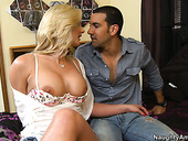 Very horny blonde babe Phoenix Marie seduces brutal guy