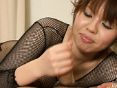 Nasty Japanese Reina Sakai seduces her man in her fish net cloth