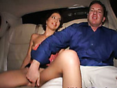 Whorish brunette Amanda gets her pussy finger fucked in the backseat