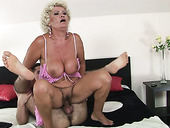 Fat curly oldie sucks a strong fresh cock in position 69 to be fed with cum