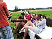 Crowd of aroused sluts are having steamy picnic outdoor