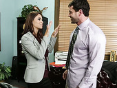 Cheesecake brunette assistant pleases her boss with a thorough blowjob in office