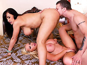 Lisa Ann and Nikki Benz fuck in a hot FFM threesome feat. Mr Pete