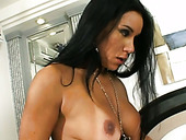 Long haired tranny with fake tits drills tight ass hole from behind