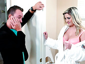 Young inexperienced dude welcomes blowjob from alluring blond bombshell