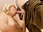 Rather flexible oldie gets her mature wet slit eaten by horny dude