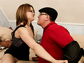 Filthy four-eyed bitch is eating grandpa's ass in provocative XXX porn clip