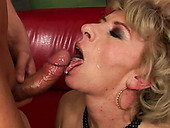Dirty old housewife MAGARETTE gets hairy cunt fucked by TONY doggy