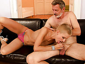Short-haired whore gives an old fart a nice blowjob