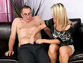 Desirable blonde girl Kitty is giving tremendous blowjob to horny old uncle