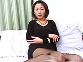 Fuckable Japanese mom shows off her goodies in leopard lingerie