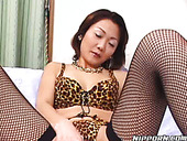 Fuckable Japanese mom stretches and rubs her bearded cunt in solo sex video