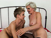 Old and young lesbians lick each other's pussies fervently