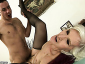 Old sex fiend gets her grey-haired pussy nailed missionary style by young lover