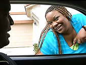 Thickalicious black hoe with braids gets mouth fucked hard