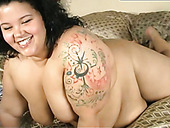 Kinky BBW trollop rubs her fat pussy with fingers in naughty solo masturbation clip