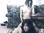 Titless skinny brunette bitch Tawny Ocean fucks her girlie with strapon