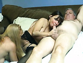 Amateur FFM threesome with two slutty brunette and blonde milfies