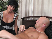 Curvy MILF finds another woman sucking her hubbie's hard dick and she joins the action