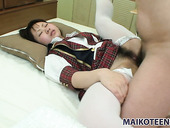 Sweet girl Mayu Nakane gets pounded missionary style and rides cock