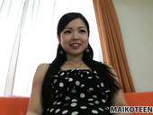 Modest Asian girlie Mana Kikuchi tries polishing her pussy with new sex toy