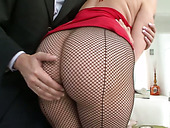 Juggy oiled babe swallows dick and gets her anus polished