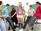 The group of raunchy students fuck head of one whorish blonde