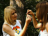 Two tempestuous teen chicks have dirty lesbian sex in the forest