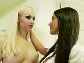 Blondie and her Sexy Girl Friend Rebeca having Sex her Dining Room
