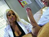 Ebony porn star Bridgette B sucks huge dick of her patient