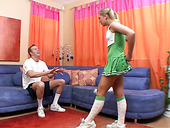 Horny cheerleader with small tits gives her lover a nice blowjob