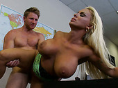 Bosomy blonde Holly Halston enjoys rough fuck
