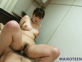 Pretty face Honoka Ono gets fucked in a missionary position and later jumps on a cock