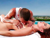 Redhead hot bitch gets oil erotic massage near the pool