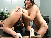 Smoking hot lesbians with fine asses finger each other's pussies