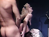 Slutty blondie in black stockings gets anal fucked from behind