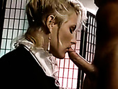 Submissive blonde housemaid Debi Diamond sucks cock after lesbo orgy