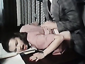 Brutal guy fucks his hot brunette bitch doggystyle over the desk