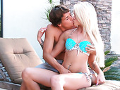 Adorable blonde teen gets her shaved coochie licked by pool boy