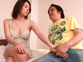 Japanese brunette with big tits Yuna Satsuki loves blowjobs the most