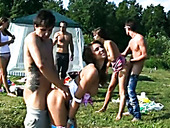 Hardcore pervert group fucking of students at Lake