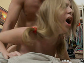 Slutty bitch with blond hair gets drilled hard on her bed