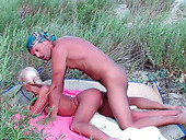Young perverted couple has wild sex on the nudist beach