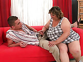 Fat smelly lewd woman gives deep throat to her hubby