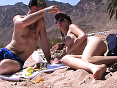Blond filthy wench gives awesome BJ to her kinky guy on sandy beach