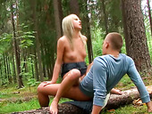 Insanely horny blonde nympho gets brutally fucked in the woods
